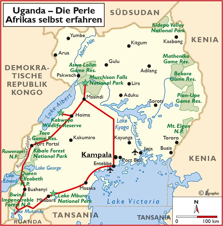 Uganda Selbstfahrertour Übersichtskarte