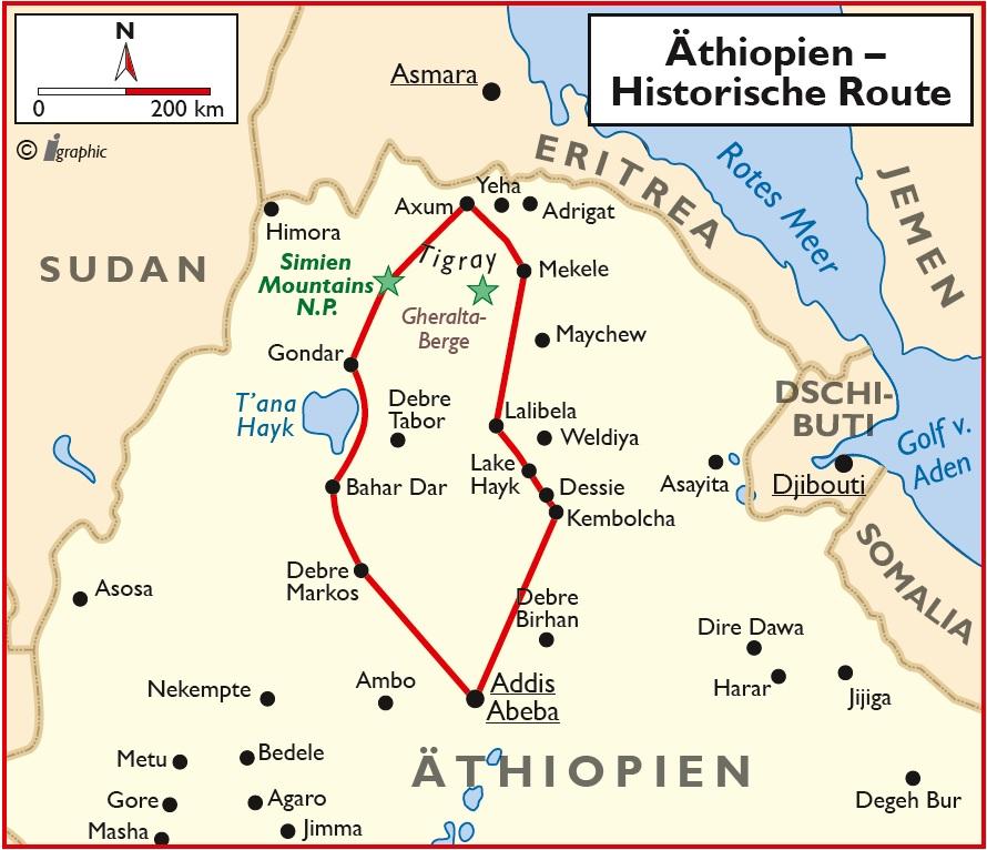Äthiopien Rundreise historische Route Gruppenreise Übersichtskarte Iwanowskis Reisen - afrika.de