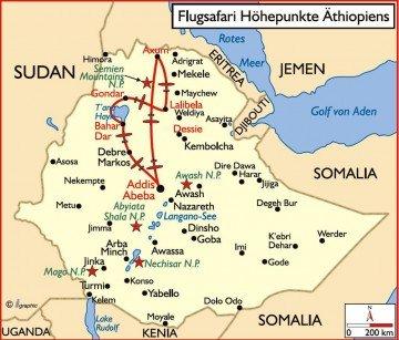 Äthiopien Flugsafari Übersichtskarte Iwanowskis Reisen - afrika.de