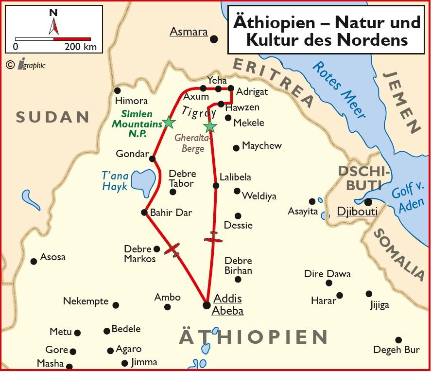 Äthiopien Rundreise Norden Addis Abeba Übersichtskarte Iwanowskis Reisen - afrika.de