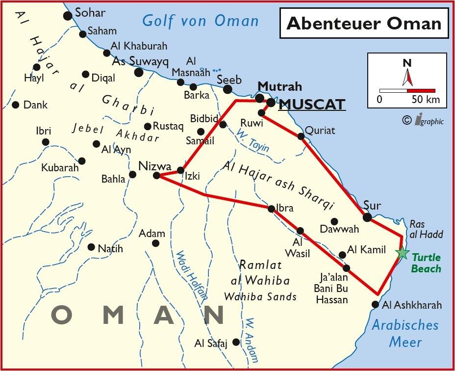 Oman Rundreise Maskat Nizwa Sur Übersichtskarte Iwanowskis Reisen - afrika.de