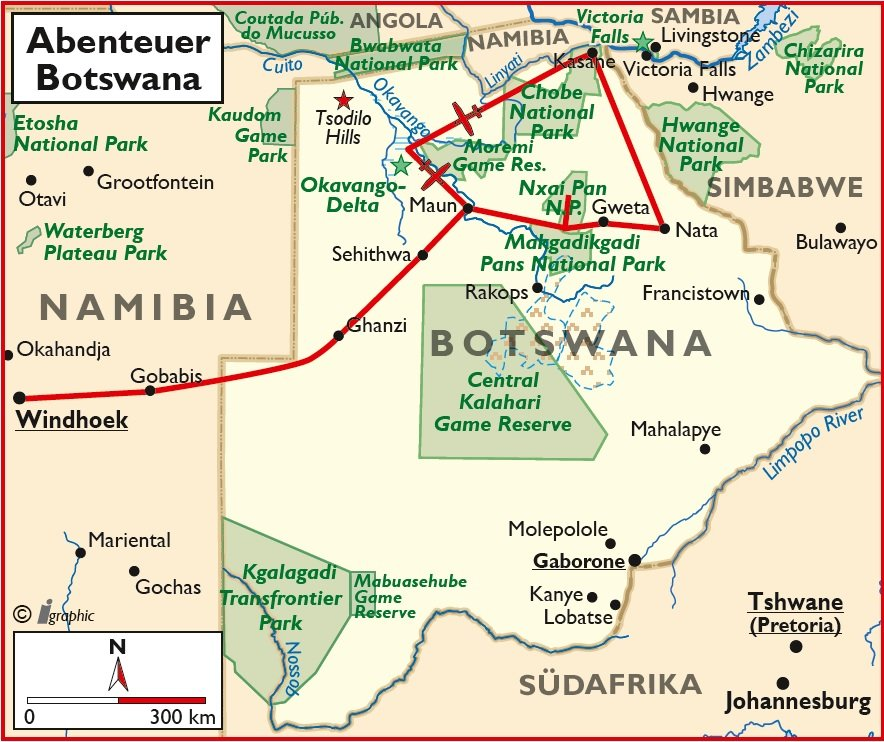 Botswana Selbstfahrertour Übersichtskarte Iwanowskis Reisen - afrika.de