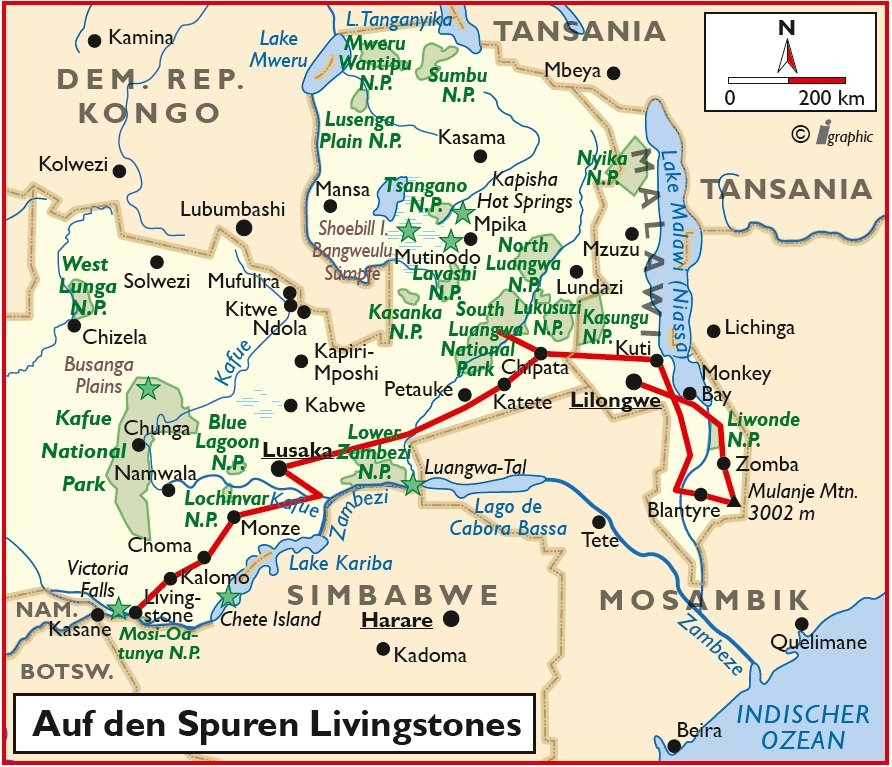 Malawi Sambia Safari Gruppenreise Übersichtskarte Iwanowskis Reisen - afrika.de