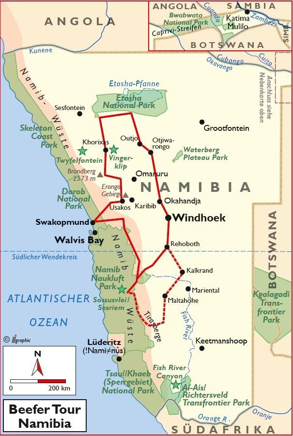Namibia Beefer Tour Selbstfahrerreise Übersichtskarte Iwanowskis Reisen - afrika.de
