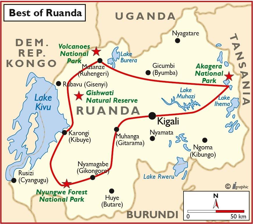 Ruanda Safari Übersichtskarte Iwanowskis Reisen - afrika.de