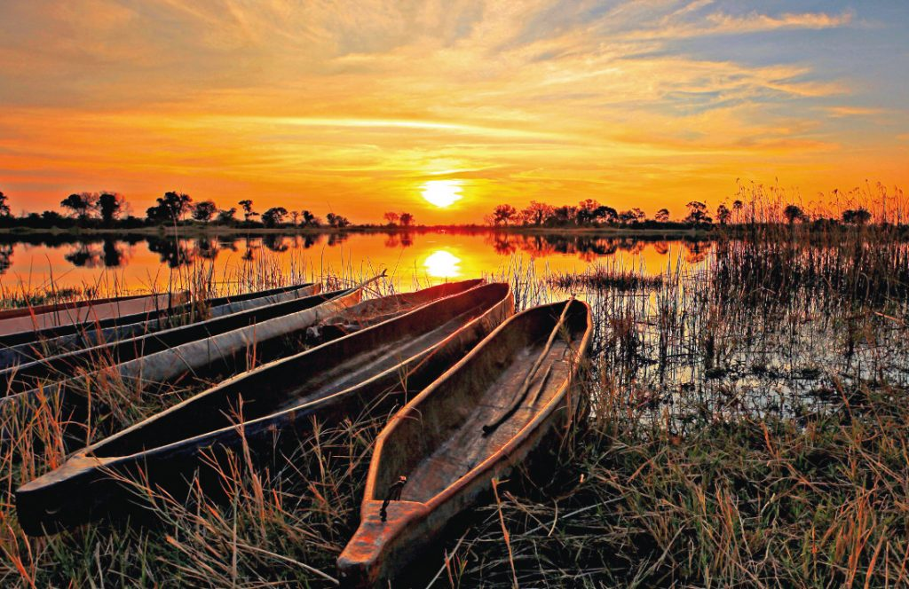Botswana Okavango Delta Mokoros Sonnenuntergang Iwanowskis Reisen - afrika.de