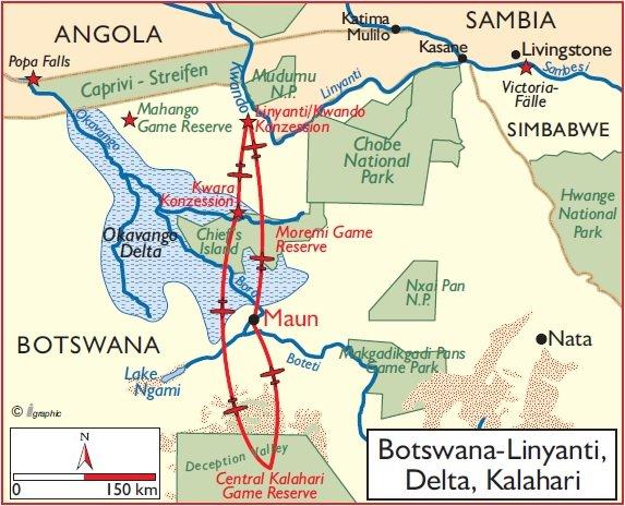 Botswana Flugsafari Linyanti Okavango Delta Kalahari Übersichtskarte Iwanowski's Reisen - afrika.de