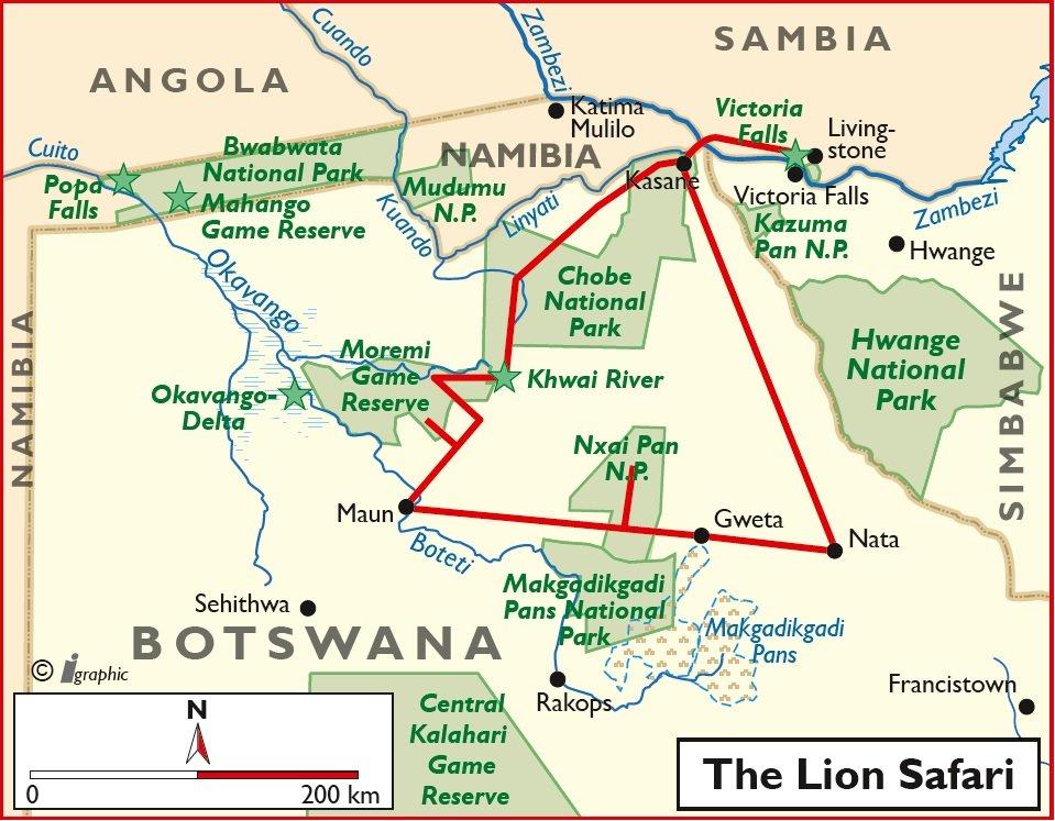 Boswana Bushways Safari Kasane Livingstone Camping Übersichtskarte Iwanowskis Reisen - afrika.de