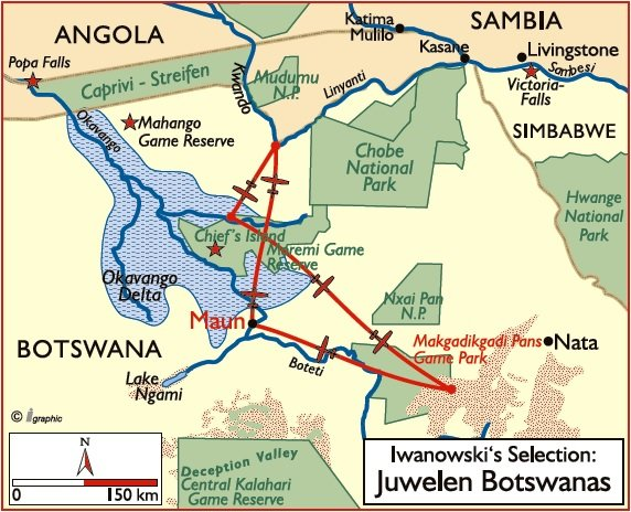 Botswana Selection Luxusreisen Übersichtskarte Iwanowskis Reisen - afrika.de