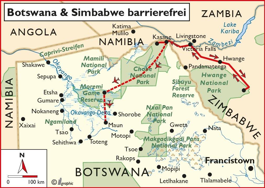 Botswana Simbabwe barrierefrei Übersichtskarte Iwanowskis Reisen - afrika.de