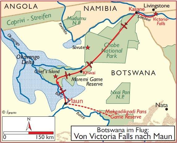 Botswana von Victoria Falls nach Maun Übersichtskarte Iwanowskis Reisen - afrika.de
