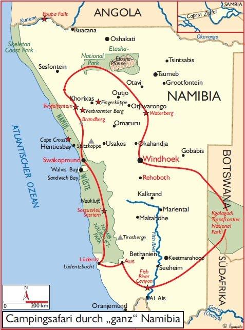 Namibia Campingsafari Übersichtskarte Iwanowskis Reisen - afrika.de