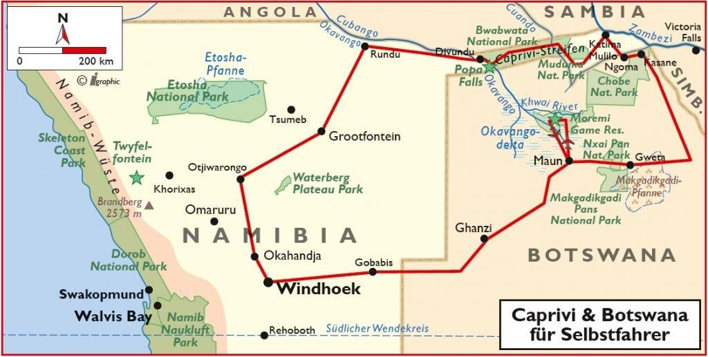 Namibia Botswana Caprivi Okavango Delta Selbstfahrertour Übersichtskarte Iwanowskis Reisen - afrika.de