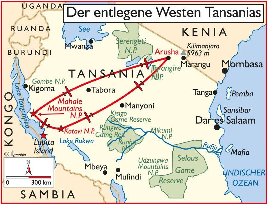 Tansania Flugsafari in den Westen Übersichtskarte Iwanowskis Reisen - afrika.de