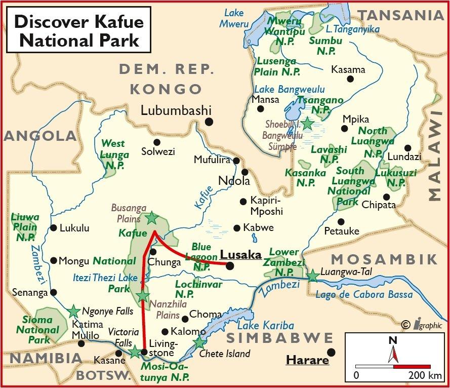 Sambia Safari Kafue National Park Lusaka Livingstone Übersichtskarte Iwanowskis Reisen - afrika.de