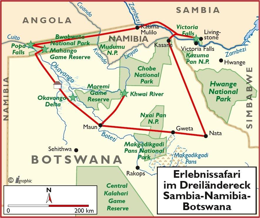 Botswana Erlebinssafari im Dreiländereck Übersichtskarte Iwanowskis Reisen - afrika.de