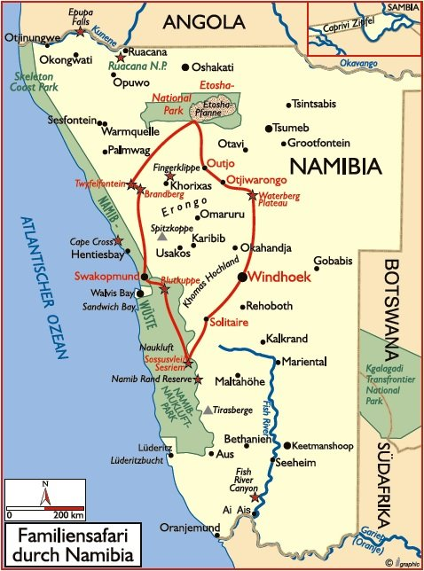 Namibia Familiensafari Übersichtskarte Iwanowskis Reisen - afrika.de