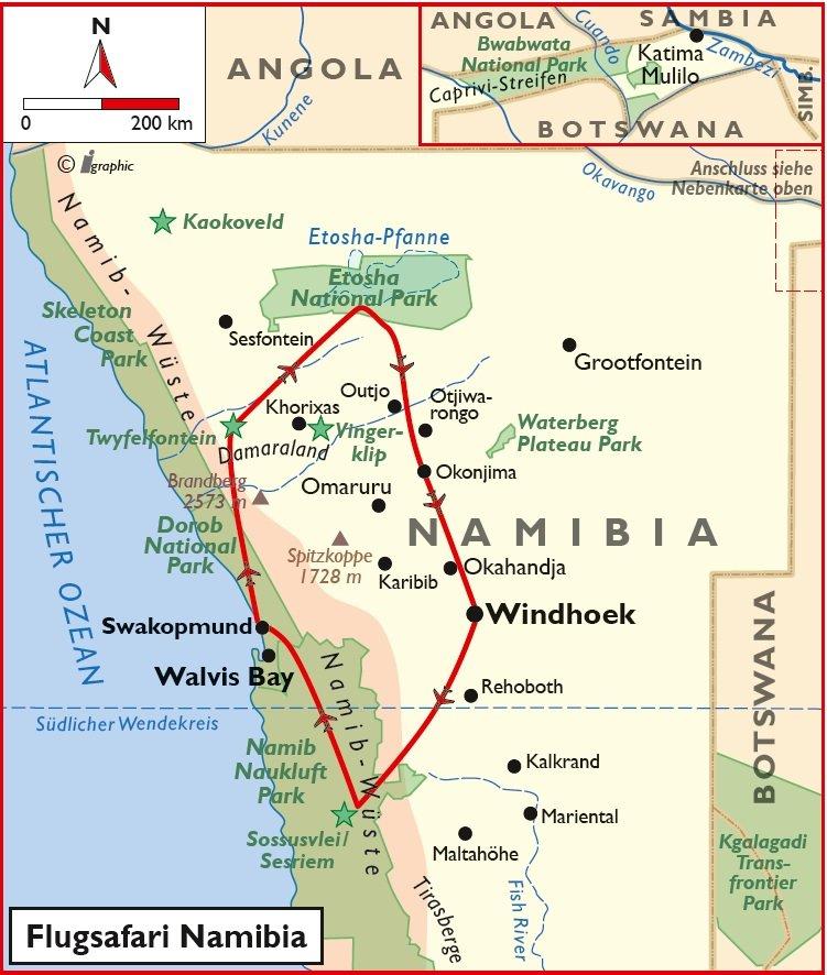 Namibia Flugsafari Windhoek Swakopmund Etosha Iwanowskis Reisen - afrika.de
