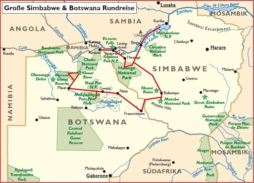 Simbabwe Botswana Rundreise Übersichtskarte Iwanowskis Reisen - afrika.de