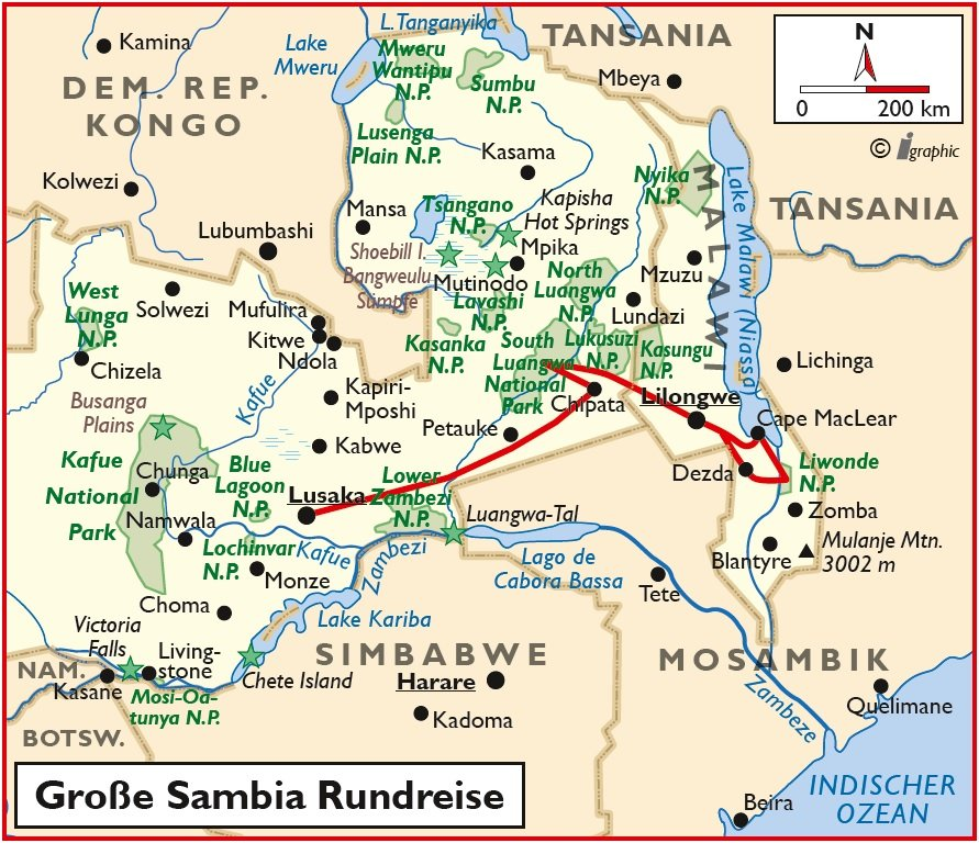 Sambia Safari Rundreise Malawi Lusaka Übersichtskarte Iwanowskis Reisen - afrika.de