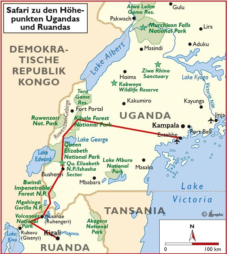 Uganda Ruanda Safari Entebbe Kigali Übersichtskarte Iwanowskis Reisen - afrika.de