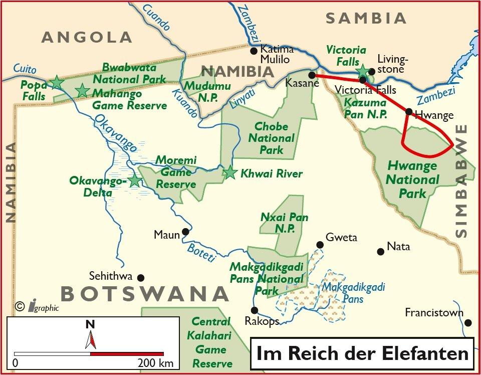 Simbabwe Rundreise im Reich der Elefanten Übersichtskarte Iwanowskis Reisen - afrika.de