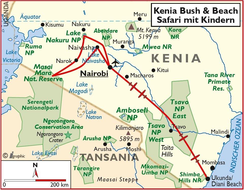 Kenia Safari Rundreise Nairobi Diani Beach Kinder Familie Übersichtskarte Iwanowskis Reisen - afrika.de