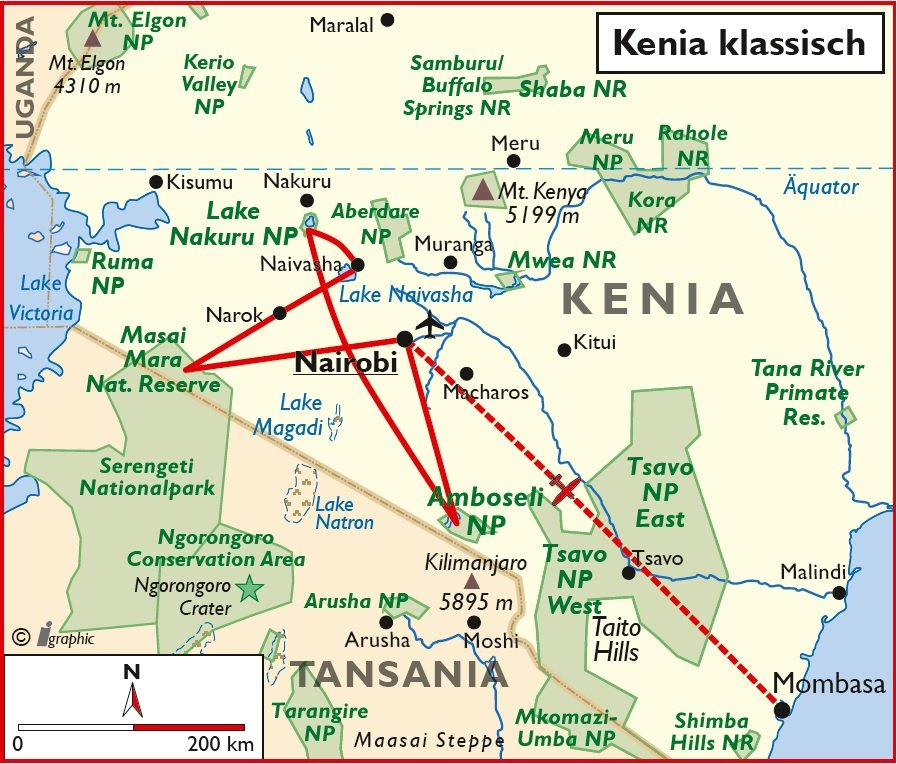 Kenia klassische Rundreise Nairobi Überischtskarte Iwanowskis Reisen - afrika.de