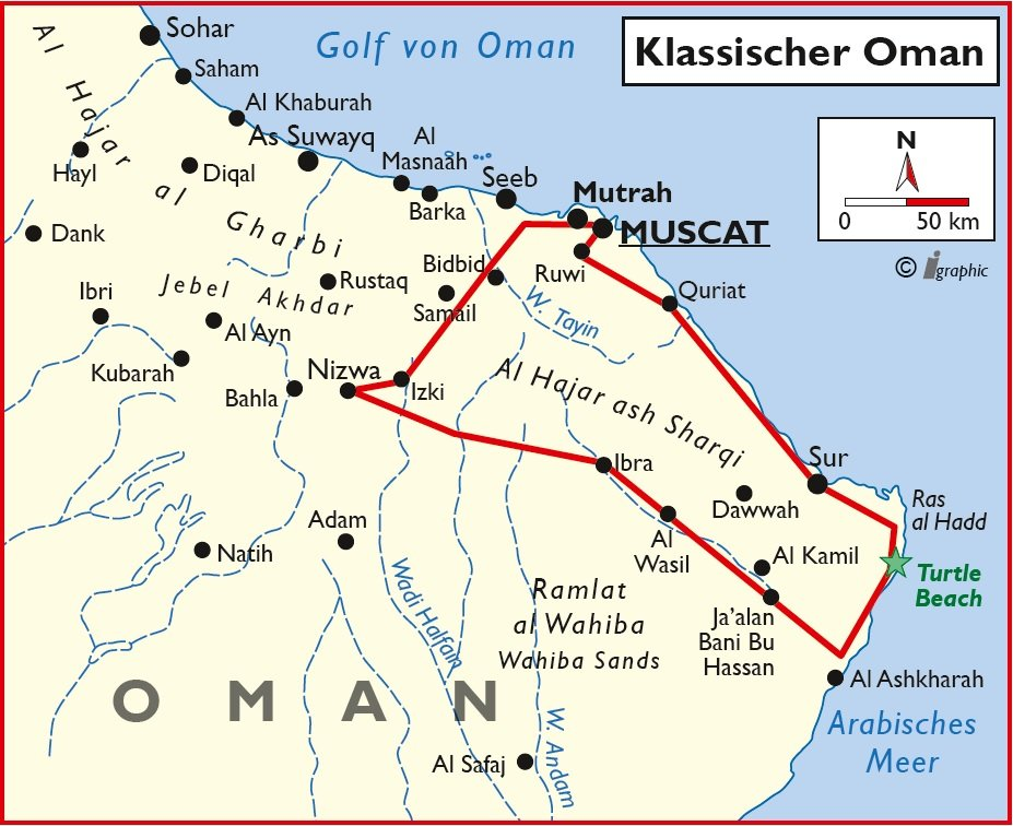 Oman Rundreise Selbstfahrertour Übersichtskarte Iwanowskis Reisen - afrika.de