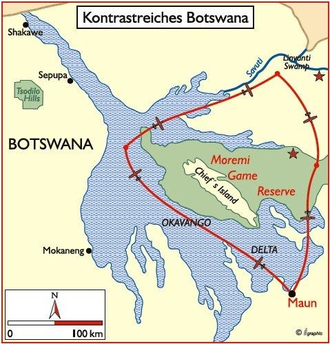 Botswana Flugsafari Übersichtskarte Iwanowski's Reisen - afrika.de