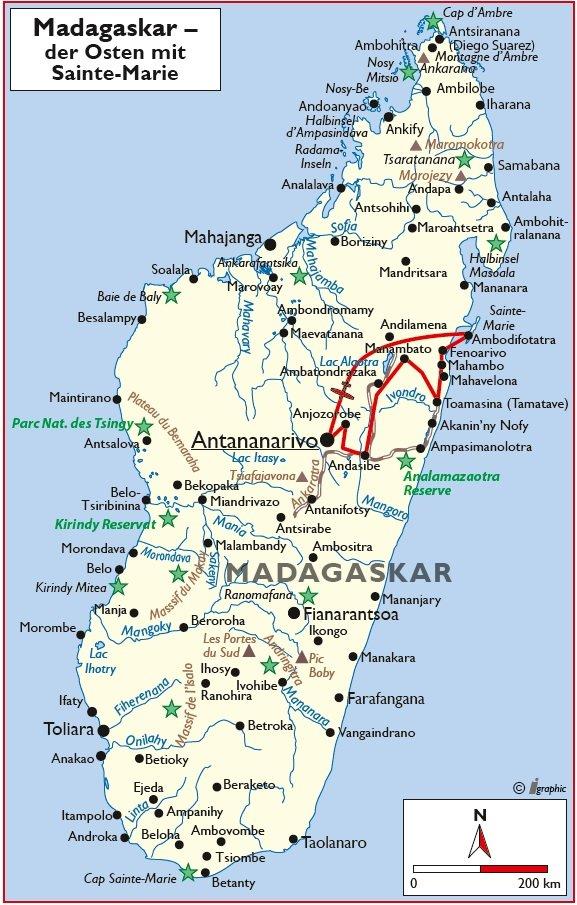 Madagaskar Rundreise Übersichtskarte Iwanowskis Reisen - afrika.de