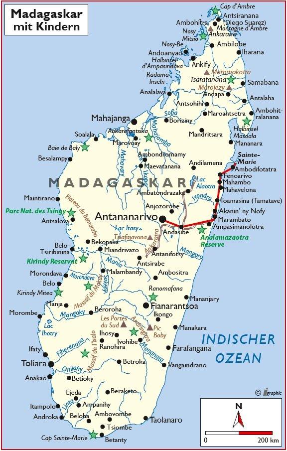 Madagaskar Rundreise mit Kindern Übersichtskarte Iwanowskis Reisen - afrika.de