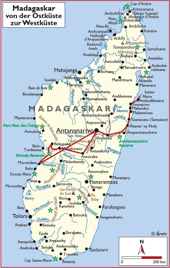 Madagaskar Rundreise Westküste Ostküste Übersichtskarte Iwanowskis Reisen - afrika.de