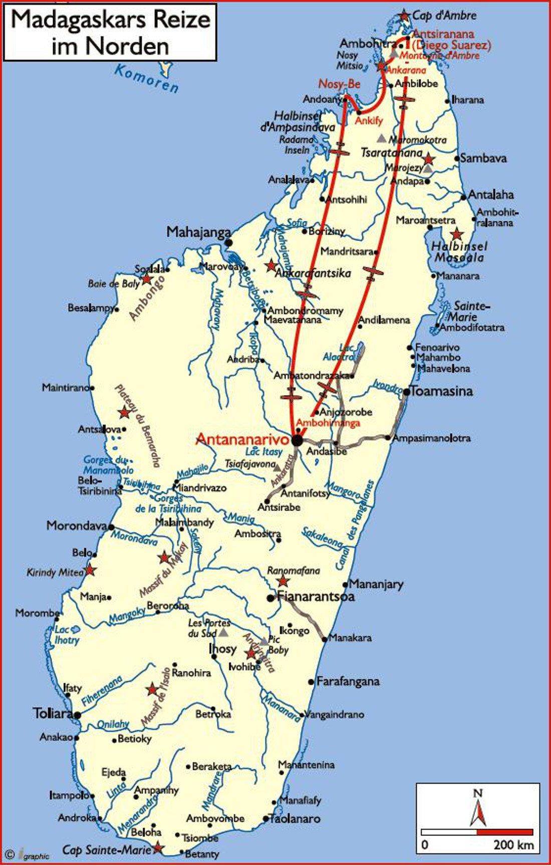 Madagaskar Reize im Norden Übersichtskarte Iwanowskis Reisen - afrika.de