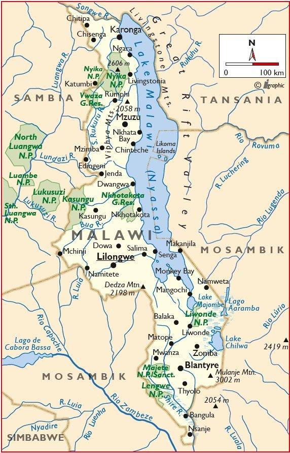 Malawi Karte Übersicht Iwanowskis Reisen - afrika.de