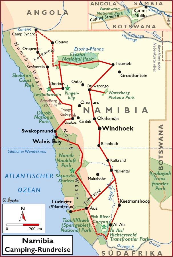 Namibia Camping Rundreise Selbstfahrer Übersichtskarte Iwanowskis Reisen - afrika.de