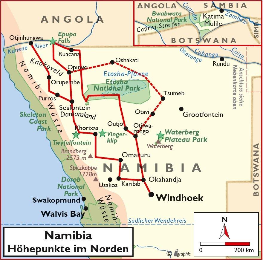 Namibia Nordwesten 4 x4 Allrad Selbstfahrertour Übersichtskarte Iwanowskis Reisen - afrika.de