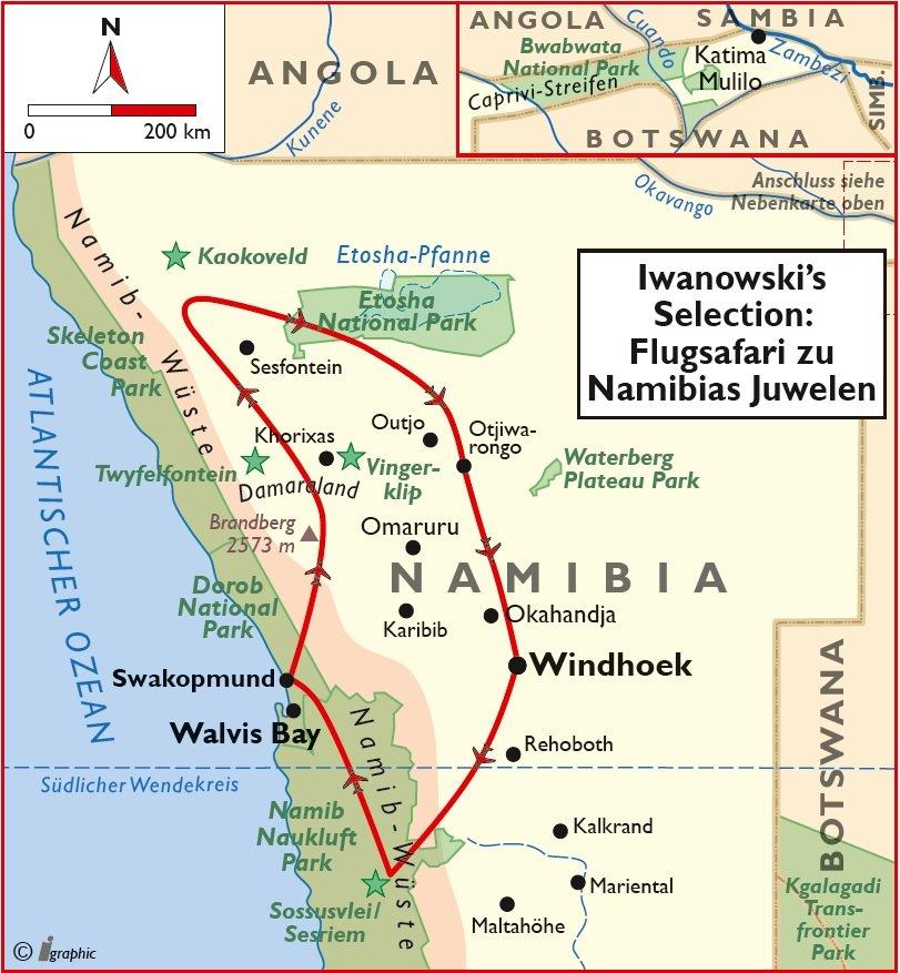 Namibia Luxusreise Flugsafari Selection Übersichtskarte Iwanowskis Reisen - afrika.de
