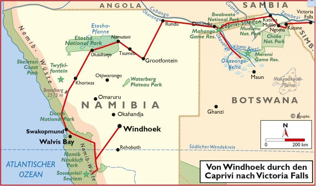 Namibia Rundreise Windhoek Caprivi Victoria Falls Übersichtskarte Iwanowskis Reisen - afrika.de
