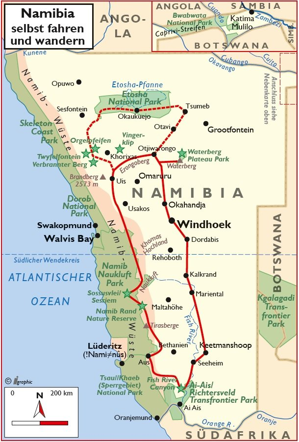 Namibia Selbstfahrertour Wandern Übersichtskarte Iwanowskis Reisen - afrika.de