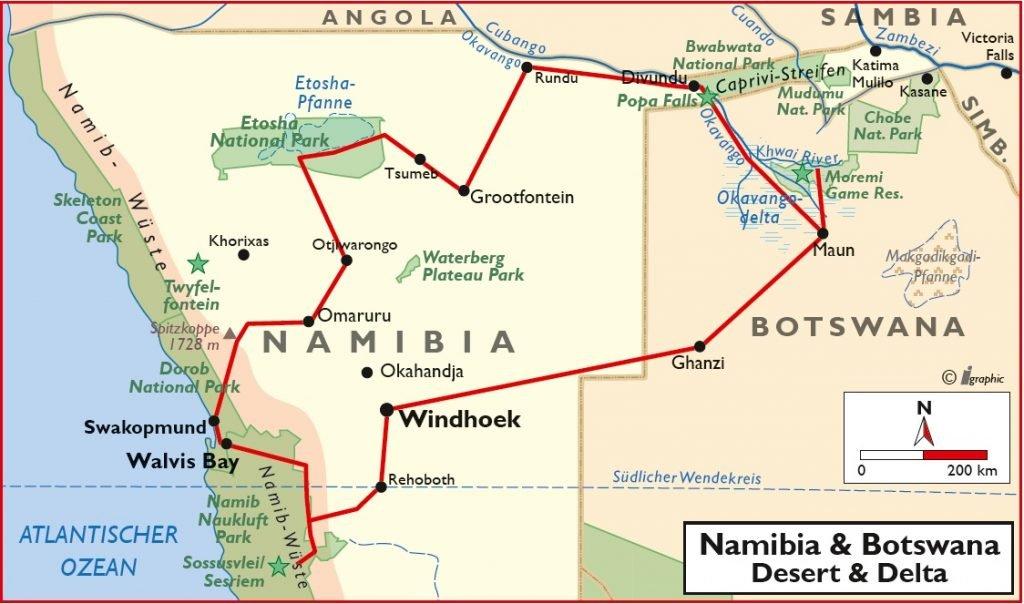 Namibia Botswana Desert & Delta Safari Übersichtskarte Iwanowskis Reisen - afrika.de