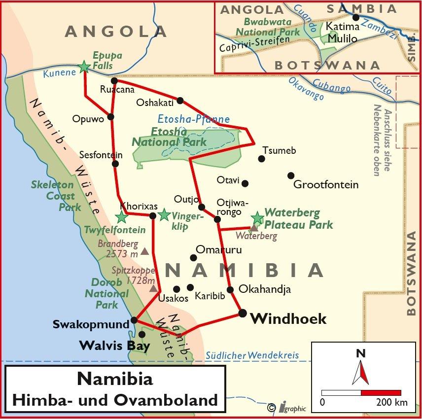 Namibia Himba- und Ovamboland Mietwagenreise Übersichtskarte Iwanowskis Reisen - afrika.de