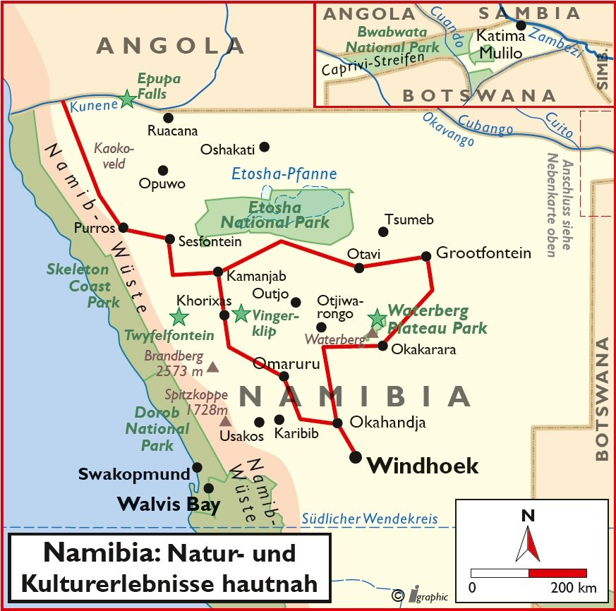 Namibia Mietwagenreise Namibia Natur Kultur Übersichtskarte Iwanowskis Reisen - afrika.de