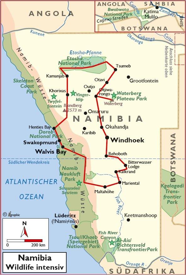 Namibia Wildlife Intensiv Selbstfahrertour Übersichtskarte Iwanowskis Reisen - afrika.de