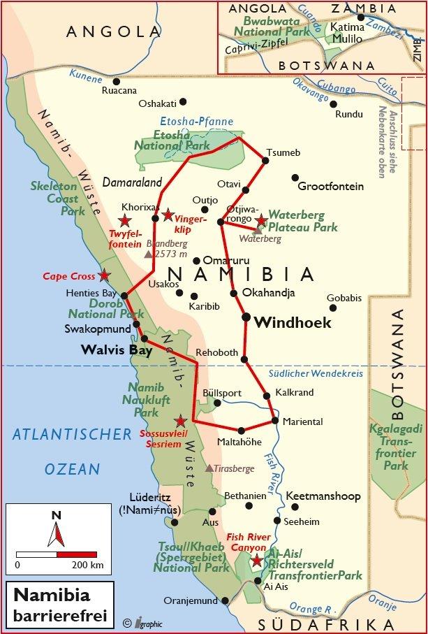Namibia Reise barrierefrei rollstuhlgerecht Safari Übersichtskarte Iwanowskis Reisen - afrika.de