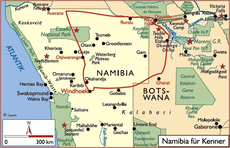 Namibia Botswana Safari Namibia für Kenner Übersichtskarte Iwanowski's Reisen - afrika.de