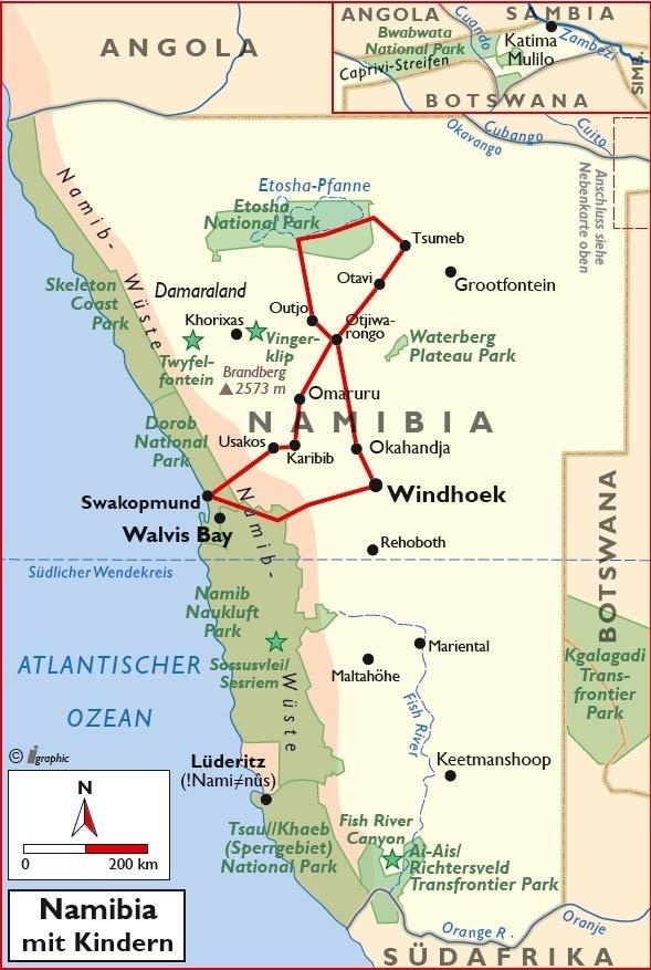 Namibia Rundreise mit Kindern Übersichtskarte Iwanowskis Reisen - afrika.de