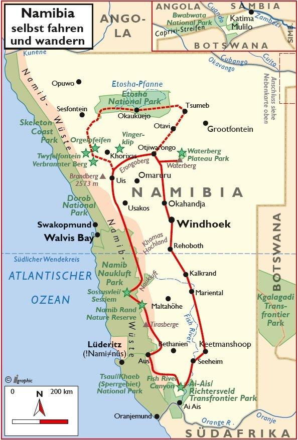 Namibia Mietwagenrundreise Wanderungen Übersichtskarte Iwanowskis Reisen - afrika.de