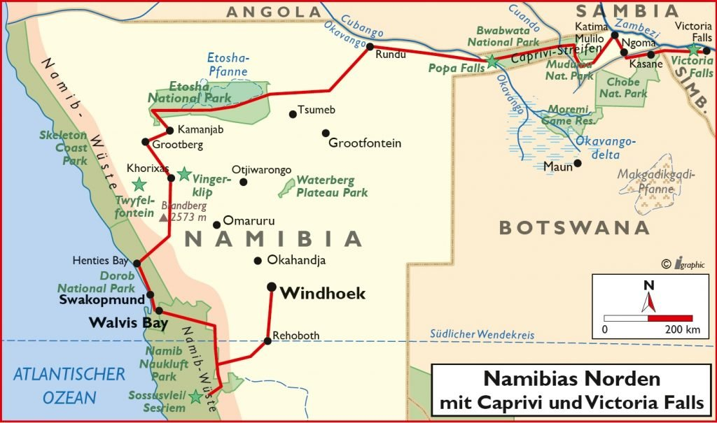 Namibia Mietwagenreisen mit Caprivi und Victoria Falls Übersichtskarte Iwanowskis Reisen - afrika.de