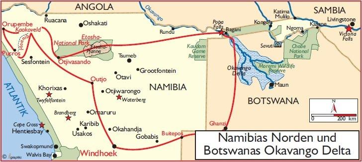 Namibias Norden Botswana Okavango Delta Übersichtskarte Iwanowskis Reisen - afrika.de
